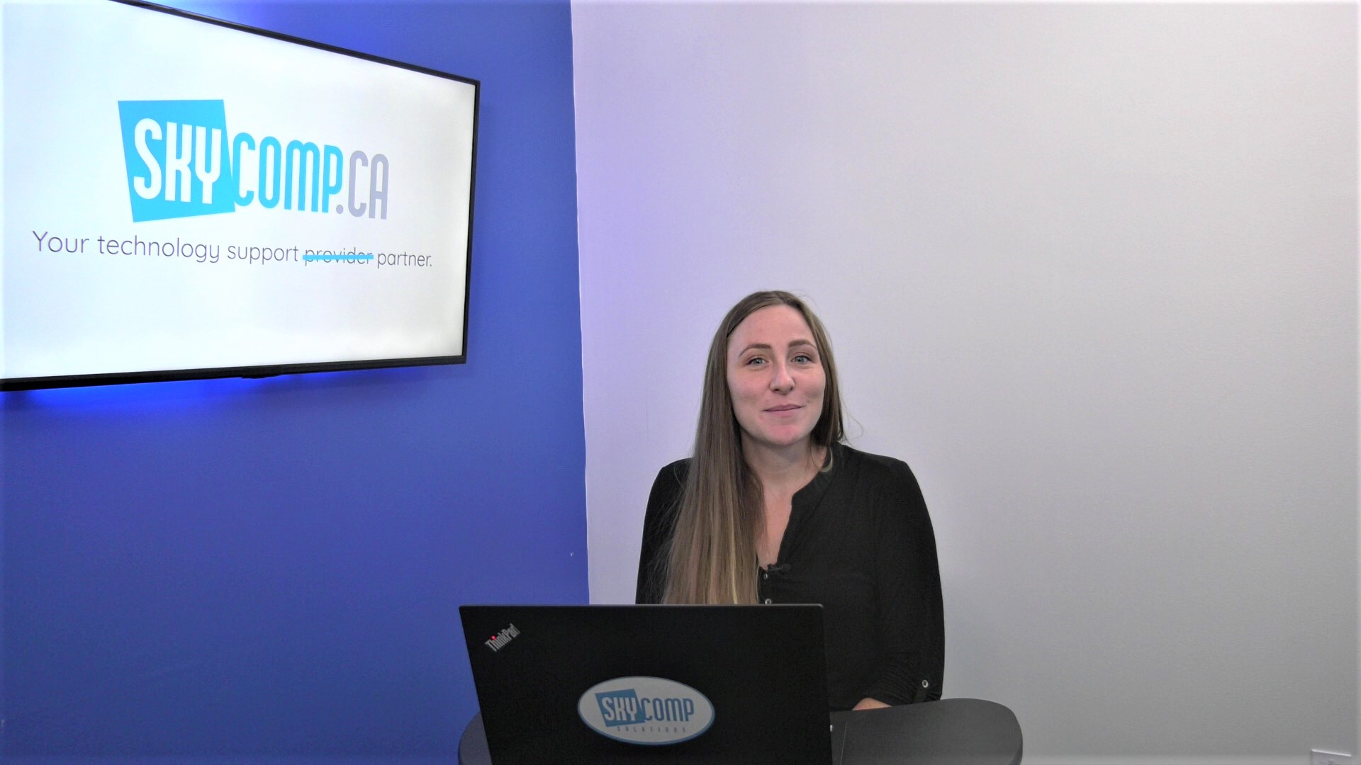April at Skycomp talking about International Women's Day