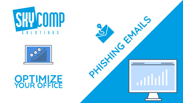 A YouTube Thumbnail reading: Phishing Emails and the Skycomp Logo