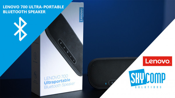 A Lenovo product box with a Bluetooth speaker on the front.