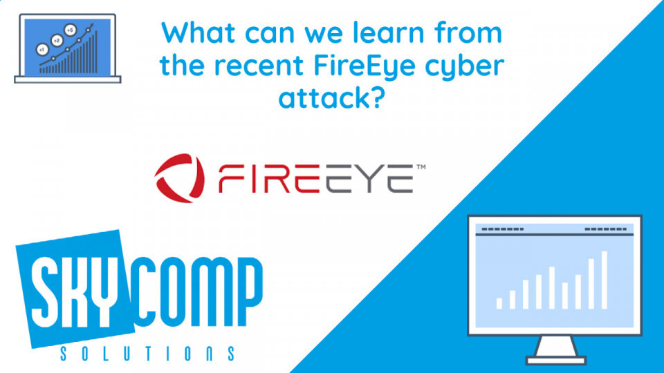 What Can we learn from the recent fireeye cyber attack? Fire Logo and the Skycomp Solutions logo.