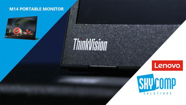 A think vision portable monitor closeup on the logo. Skycomp and Lenovo logos