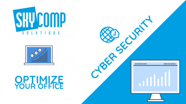 A YouTube Thumbnail reading: Cyber Security with the Skycomp Logo