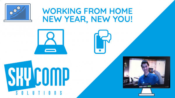 Working From Home - New Year, New You! - The Skycomp Logo Sebastian from Skycomp in a computer screen.
